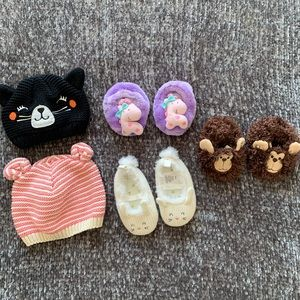 0-6 mo booties & hat bundle